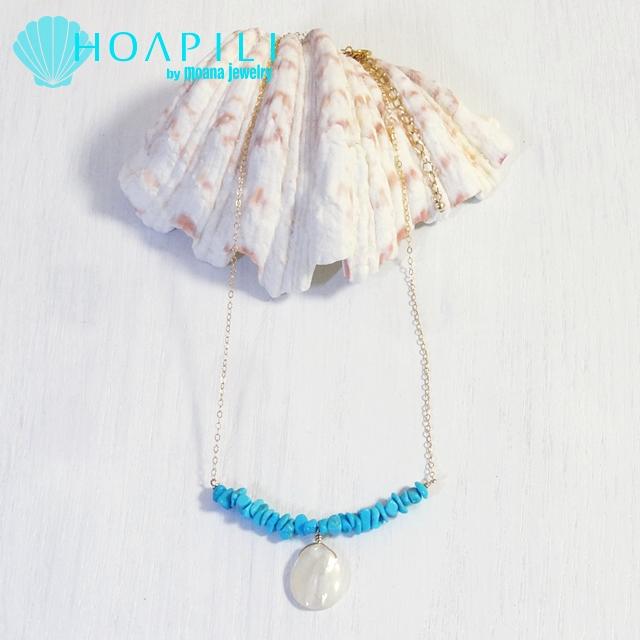 hp_n75 アリゾナ産ターコイズとドロップマザーオブパール(MOP)の14KGFネックレス Turquoise