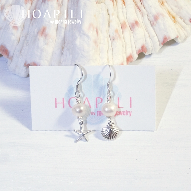 hp_p106 小さいSV925ピアス White Fresh Water Pearl&Sea Shell&Sea Star