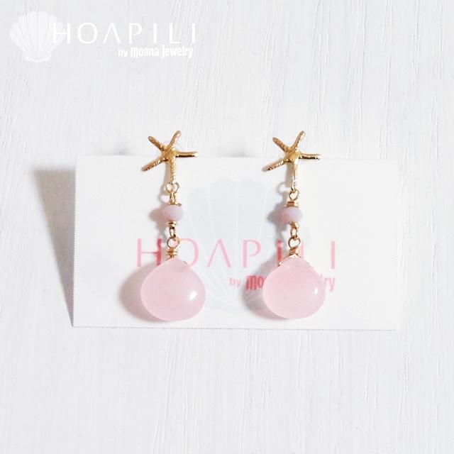 hp_p145 ヒトデと天然石の14KGFピアス Pink Sea