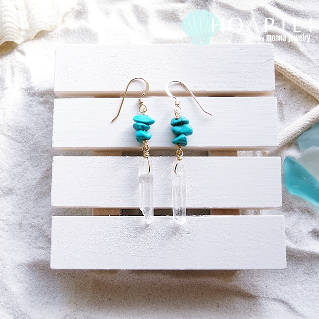 hp_p64 ストーンデザインの14KGFピアス Turquoise&Crystal