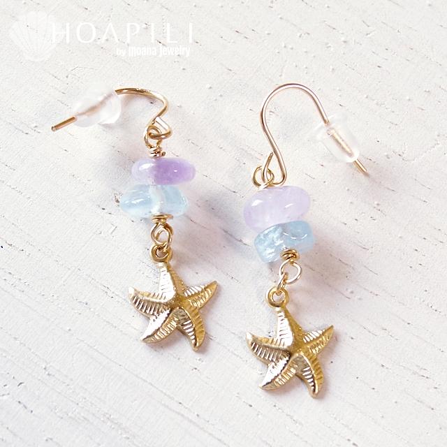 hp_p82 短めの14KGFピアス Little Starfish