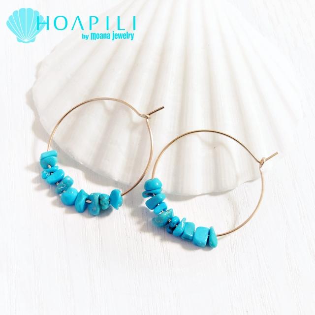 hp_p97 アリゾナ産ターコイズの14KGFフープピアス Turquoise