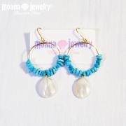 moana_p197 海を感じるフープピアス Turquoise&MOP