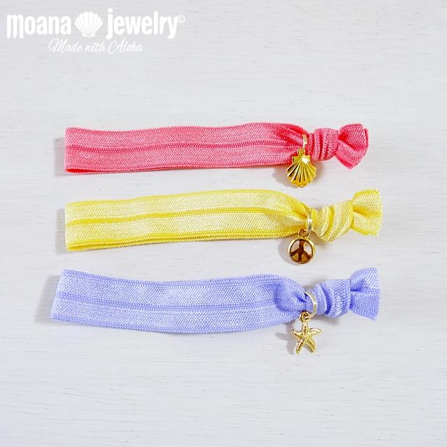 moana_hg24 Shell、ヒトデ、Peaceチャーム付きのヘアタイ(ツイストバンド)Triple Set
