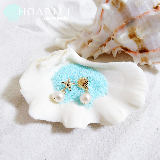 moana_hp14kgfp21 小さい14KGFピアス  Fresh Water Pearl&Sea Shell&Sea Star