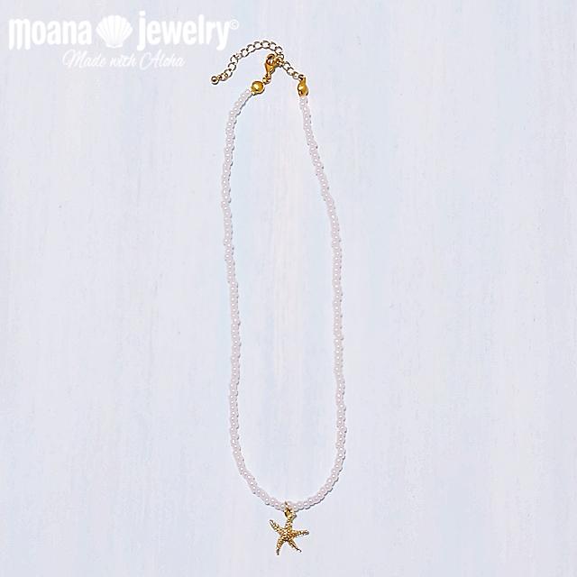 moana_n35 ホワイトパールカラーのビーズネックレス Sea Star