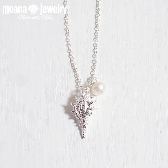moana_n67 シルバーカラー 上質な淡水パールと巻貝のネックレス Pearl&Sea Snail