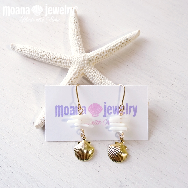 moana_p124 ラインピアス White Coral&Gold Shell