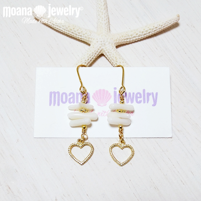moana_p149 ラインピアス White Coral&Heart