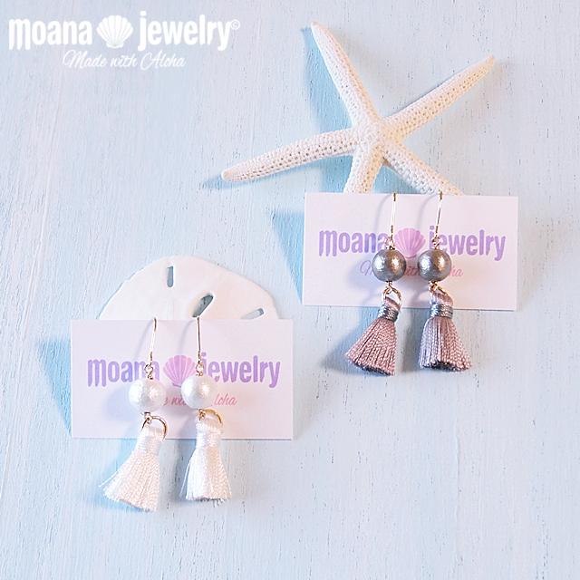moana_p177 コットンパールとタッセルのピアス Beautiful