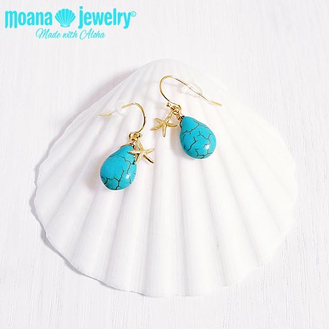 moana_p187 ドロップターコイズのピアス Drop Turquoise