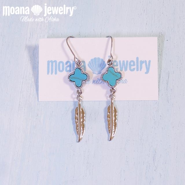 moana_p201 フェザーとターコイズのシルバーカラーピアス Turquoise&Feather
