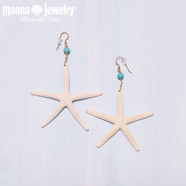 moana_p47 ピアスフック部分14KGF マーメイドになれるヒトデピアス♪ Sea Star&Turquoise(M)
