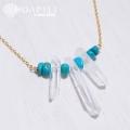 hp_n32 ストーンデザインの14KGFネックレス Turquoise&Crystal