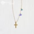 hp_n64 クロスと天然石の14KGFネックレス Ocean Cross