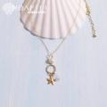 hp_n67 淡水パールと水晶の14KGFネックレス  Fresh Water Pearl&Crystal&Sea Star