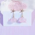hp_p137 ヒトデと天然石の14KGFピアス Pink Sea
