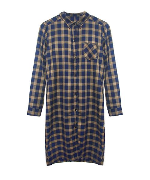 タータンチェック柄ロングシャツワンピース/3カラー