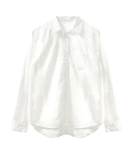 ベーシックブロードホワイトコットンシャツ