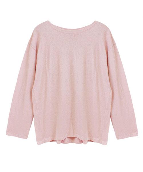 バックフレア七分袖ロングTシャツ/4カラー