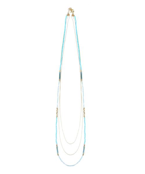 ビーズチェーン3連ネックレス/4カラー