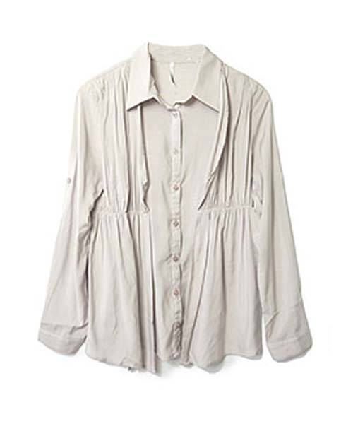 レイヤード風ドレープシャツ/3カラー
