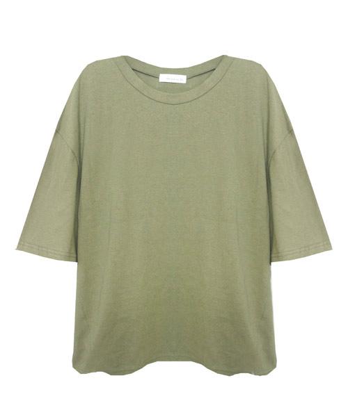 シンプルビッグシルエット五分袖ゆるTシャツ/4カラー