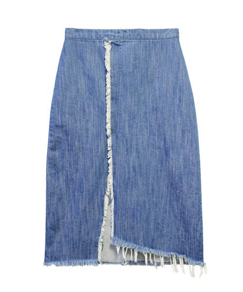 カットオフデニムラップスカート 巻きスカート