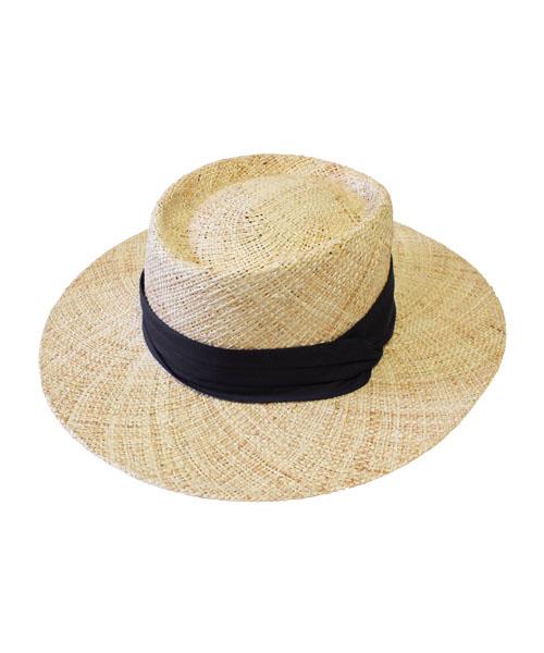 ツイストリボン カンカン帽  ストローハット