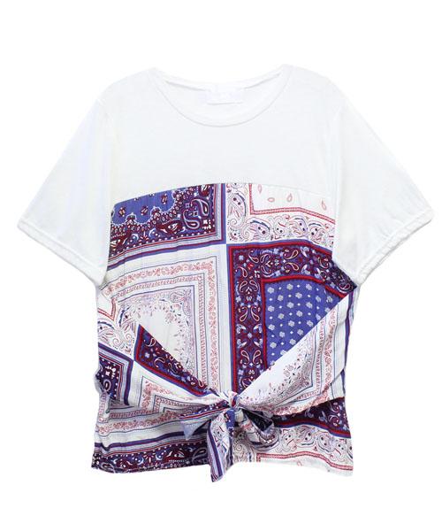バンダナドッキングTシャツ/3カラー