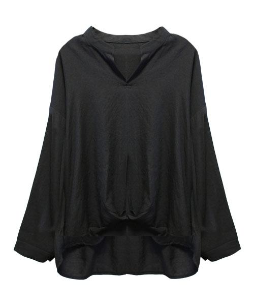 ノーカラ―Vネックシャツ/3カラー
