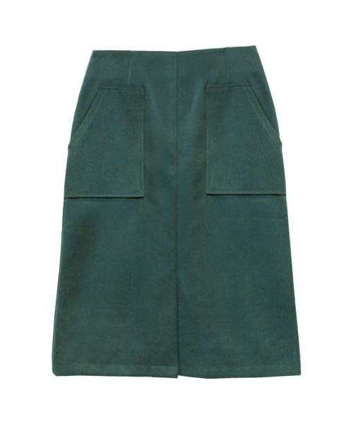 裏起毛ダブルポケットタイトスカート/3カラー