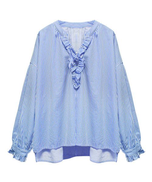 オーバーサイズフリルシャツ/2カラー