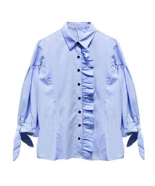 袖リボンフリルプラケットチェックシャツ/2カラー