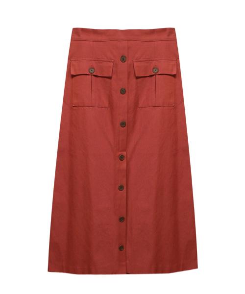 フロントボタンスカート/3カラー