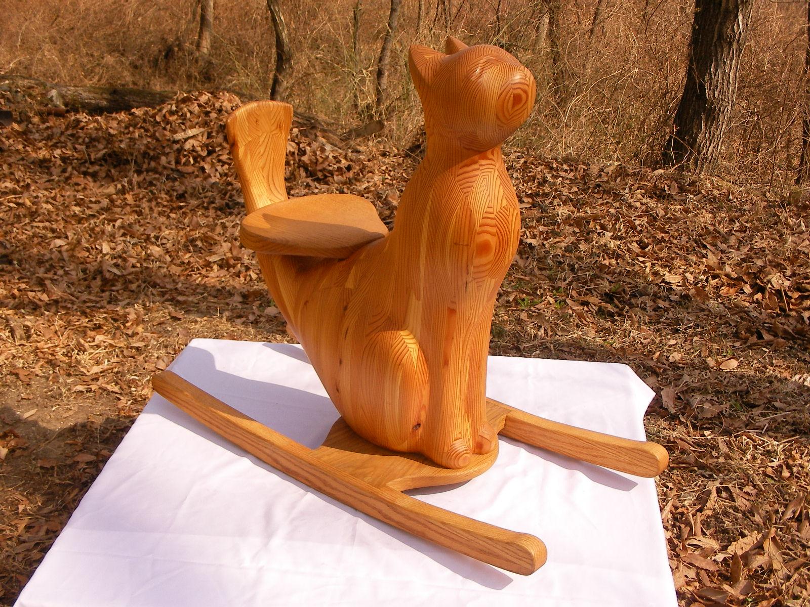 手作り 木製 ねこ 木馬