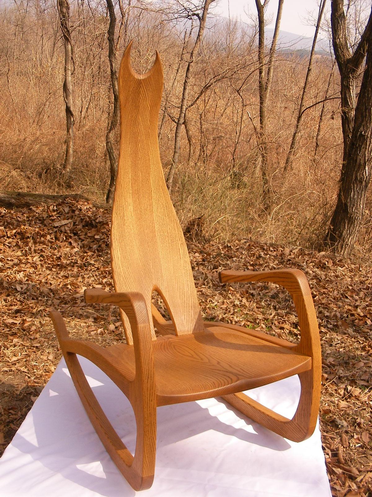 手作り 木製 ロッキングチェアー ねこのロッキングチェアー