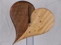 手作り木製電波掛け時計 ハート