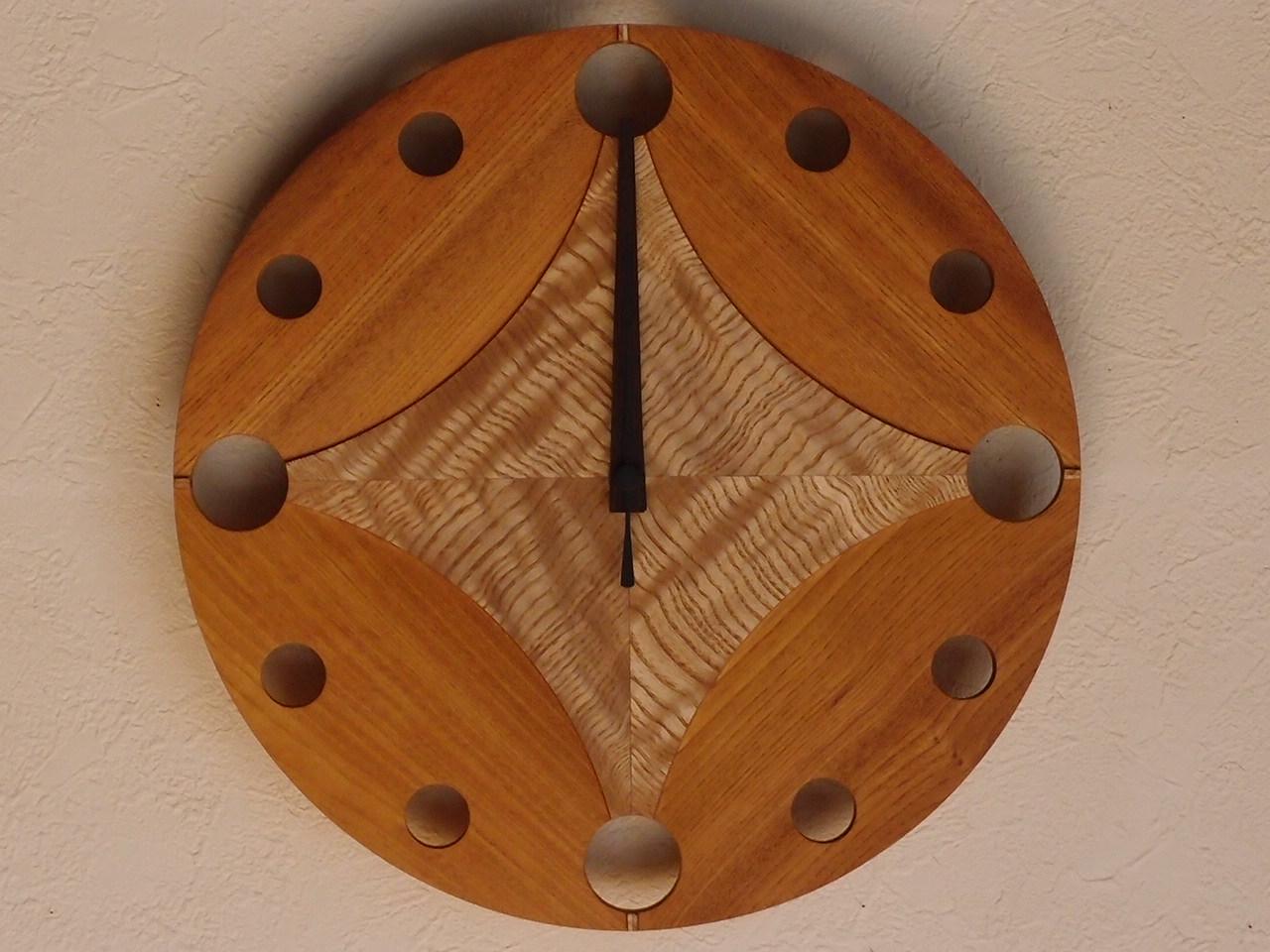 手作り木製電波掛け時計 けやき タモ