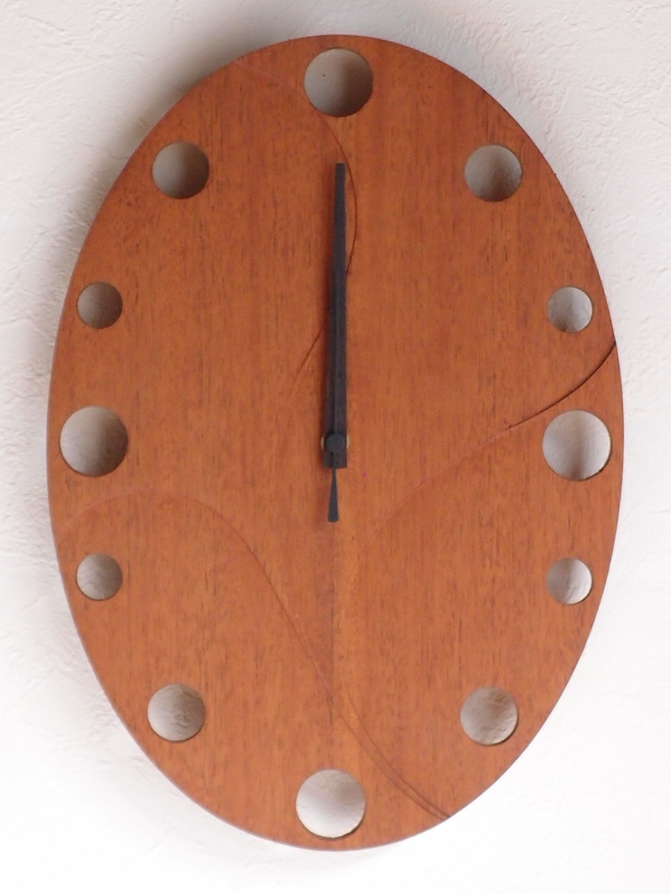 手作り木製電波掛け時計 マホガニー