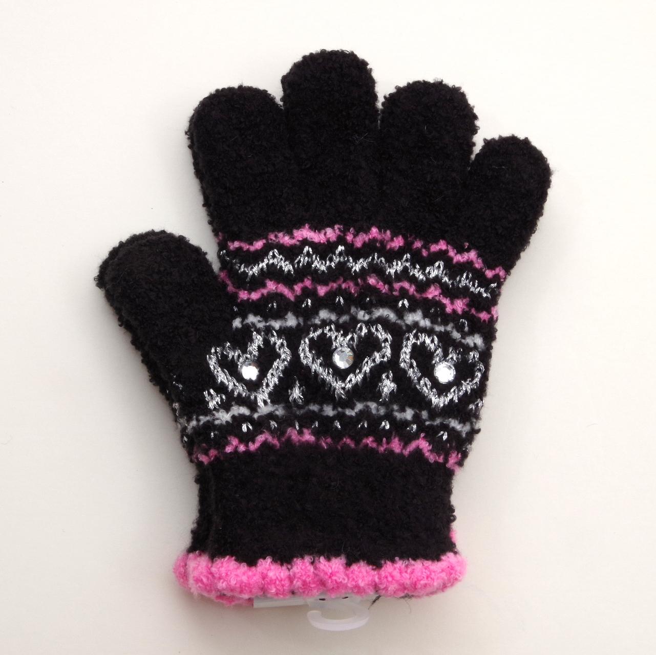 日本製  のびのび五指手袋 キッズ/ジュニア 15cm 3つハート  (1610-1714)