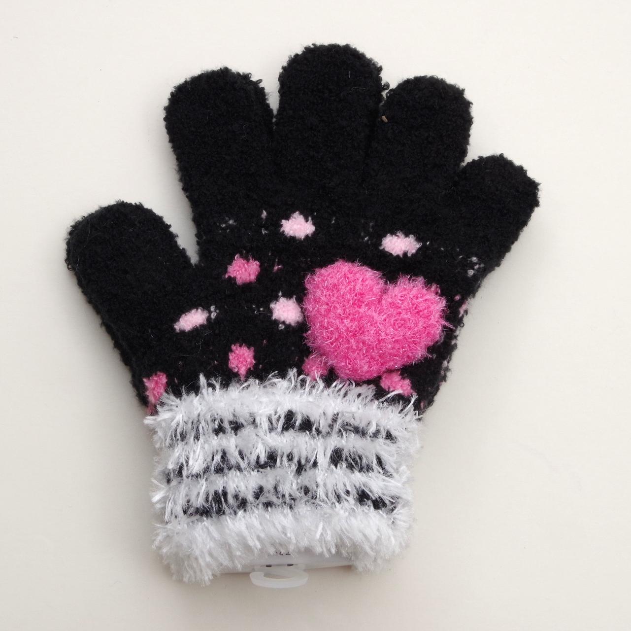 日本製  のびのび五指手袋 キッズ/ジュニア 15cm ピンクハート  (1610-1717)