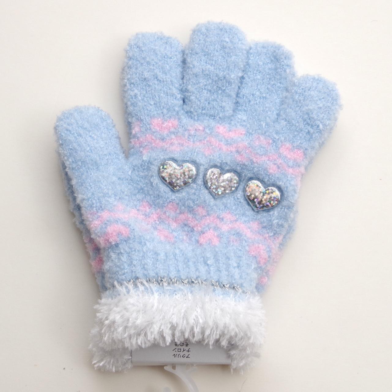 日本製  のびのび五指手袋 キッズ/ジュニア 15cm 3つハート  (1610-1722)