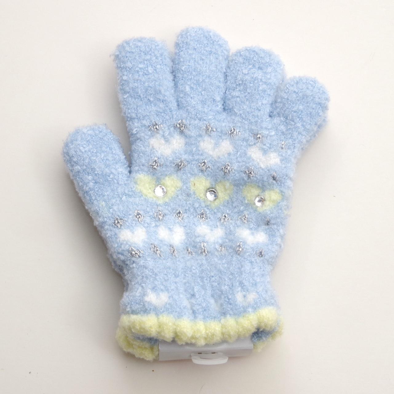 日本製  のびのび五指手袋 キッズ/ジュニア 15cm 3つキラキラ  (1610-1723)