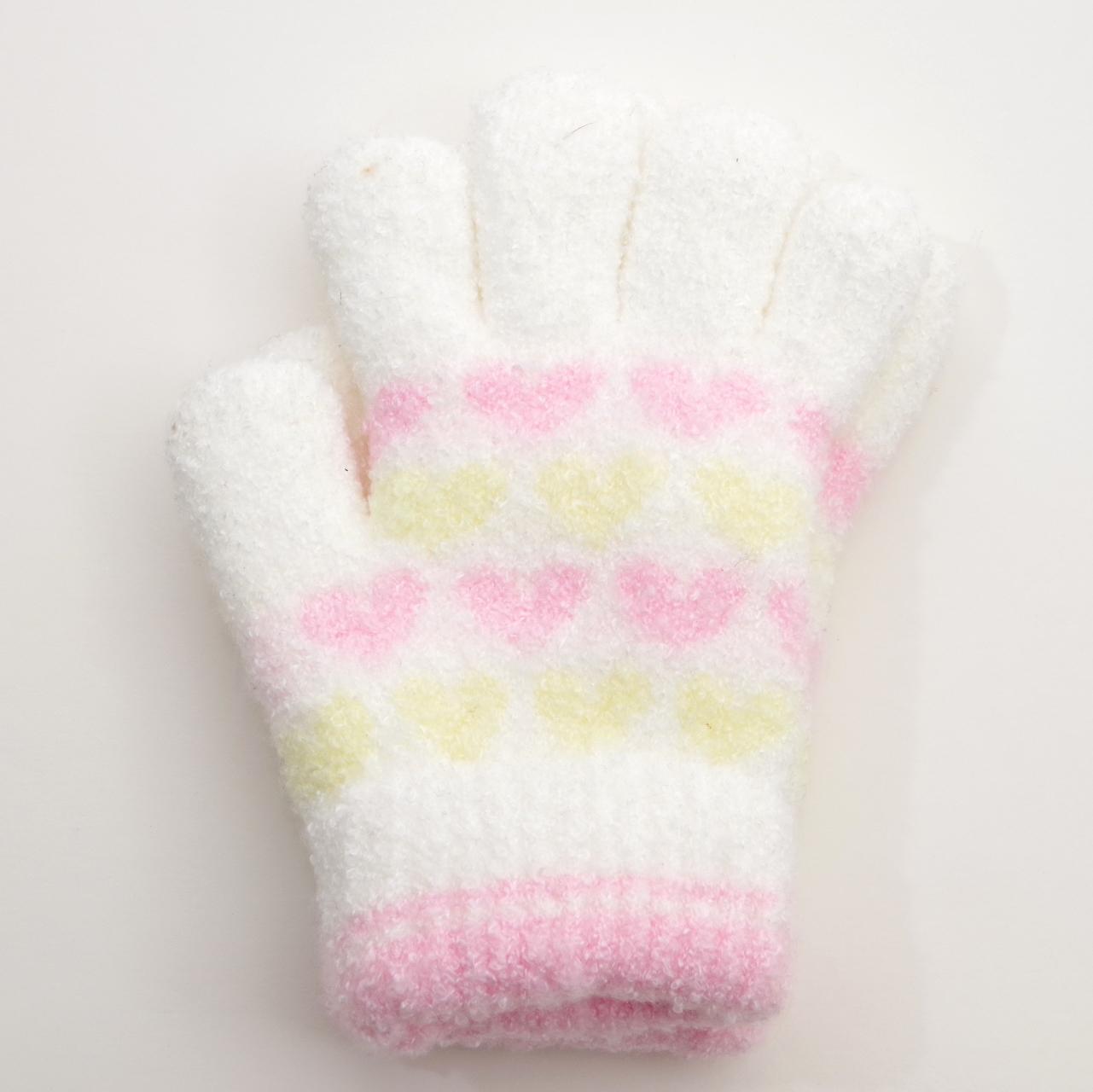 日本製  のびのび五指手袋 キッズ/ジュニア 16cm ホワイト二重  (1610-1771)