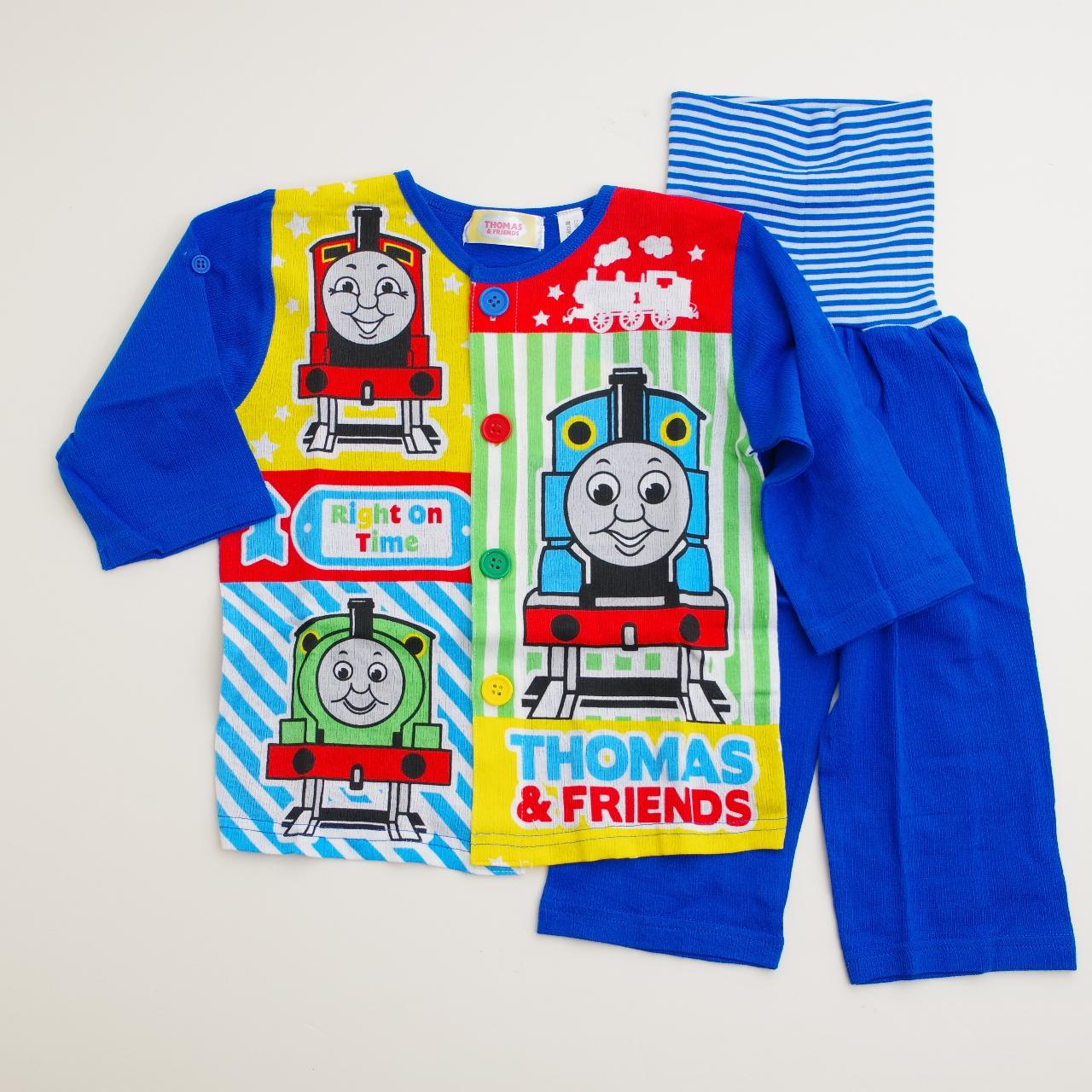 きかんしゃトーマス 前ボタン ロールアップ式 腹巻付き長袖パジャマ 80-95cm (T7301)