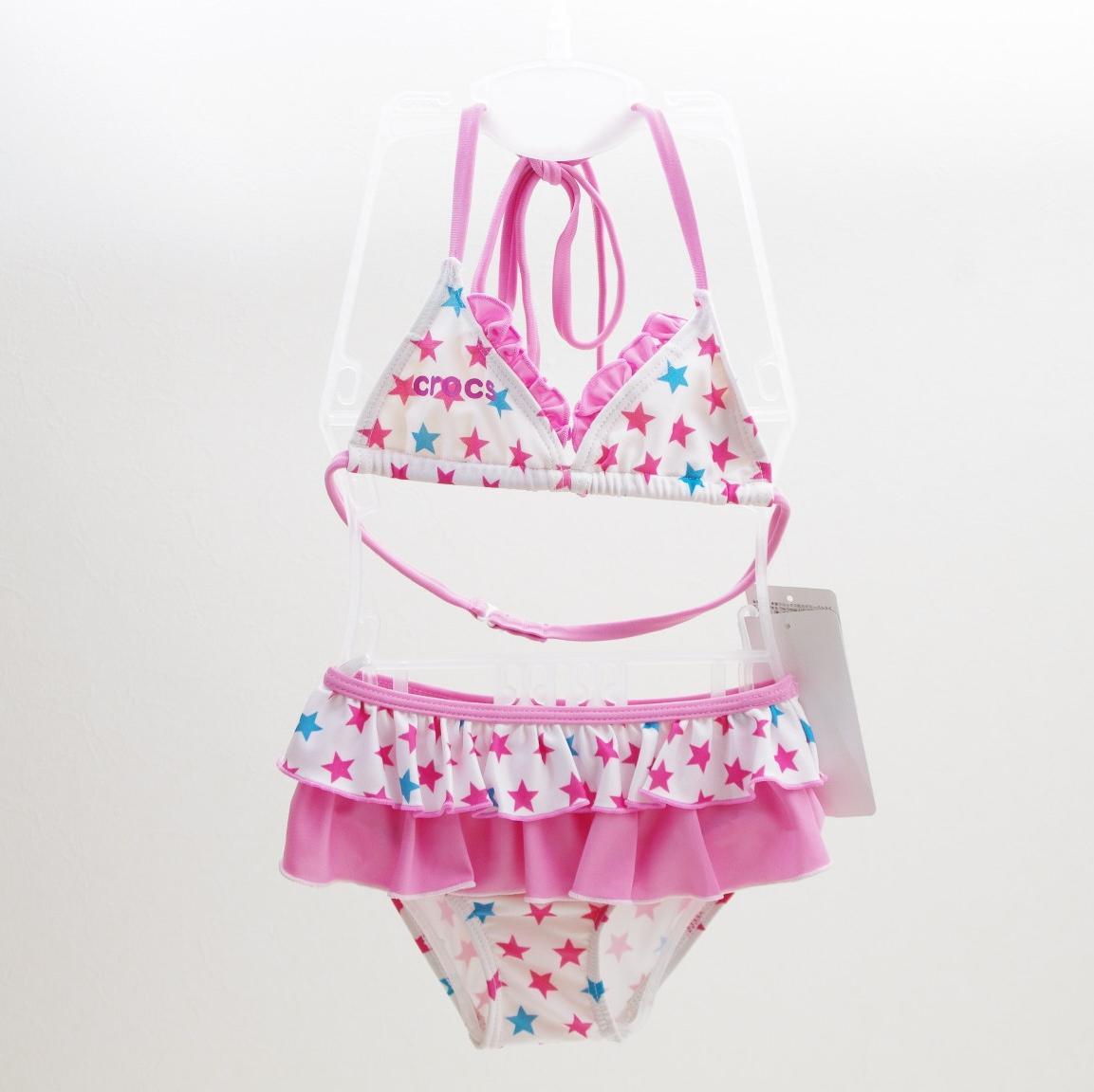 crocs クロックス 女児 セパレート水着  ピンク星 110cm 163-752