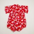 日本製 甚平ロンパース カバーオール 毬 赤色女の子 80cm (220907-RD)