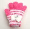 日本製  のびのび五指手袋 キッズ/ジュニア 15cm ホワイトリボン  (1610-1721)
