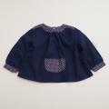 チャイルドの長袖スモック 紺色ドット 1-2才用 (1611-2054)